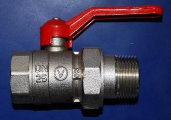 - 6607 Zawór kulowy DN25 z półśrubunkiem