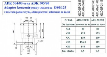 - 9704 Adapter z odskraplaczem fi80/125
