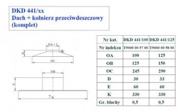 - 9742 Płyta dachowa prosta + kołnierz przeciwdeszcz. fi125