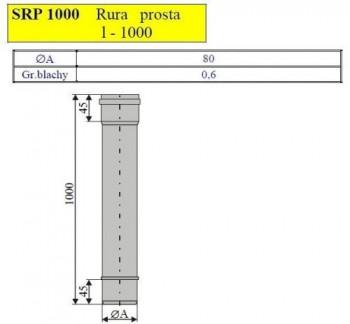 - 2471 Rura prosta L=1000mm fi80
