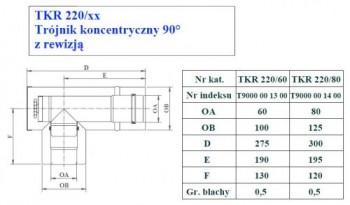 - 9689 Trójnik koncentryczny 90st z rewizją fi80/125
